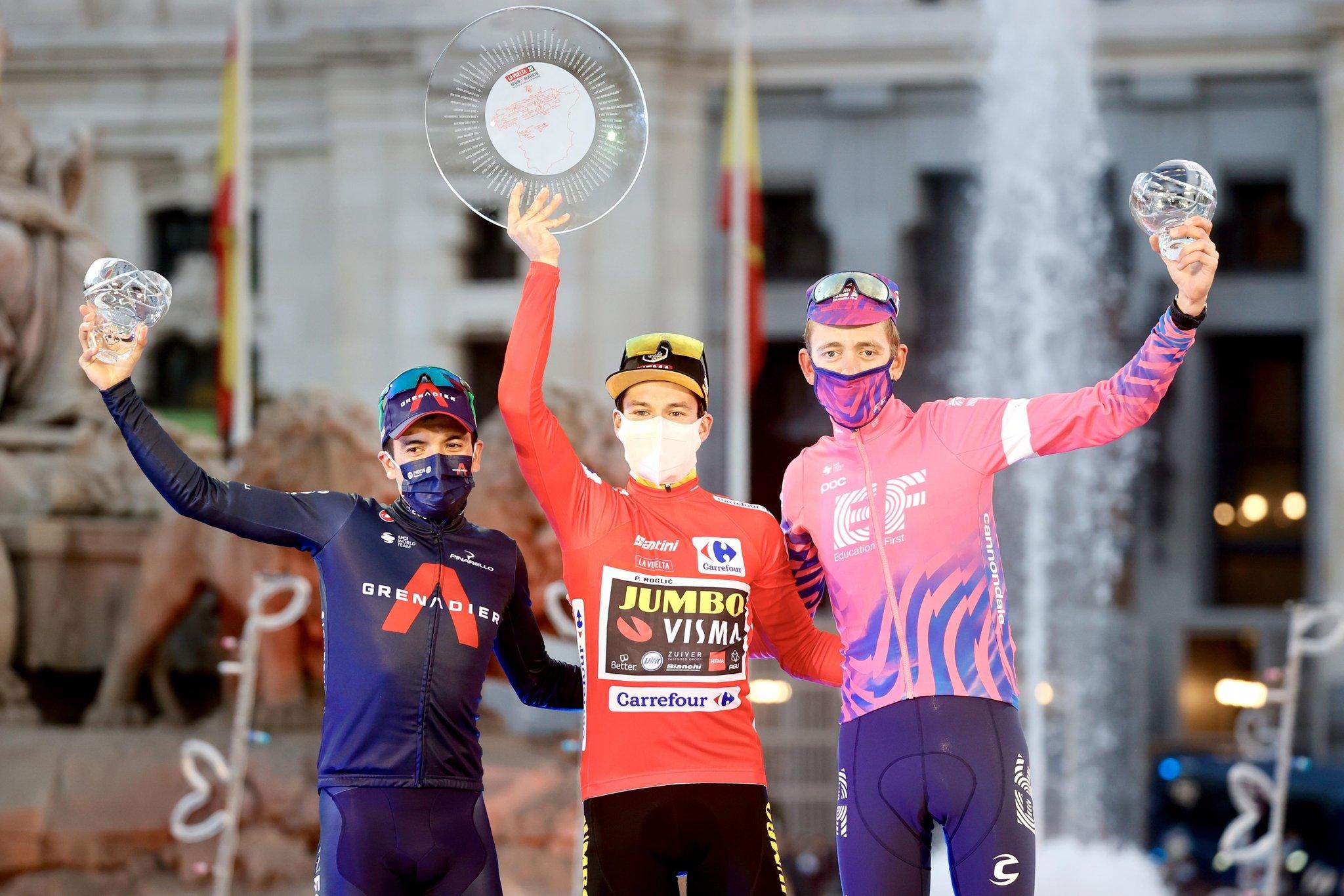 cycling vuelta 2020 roglic carapaz carthy podium
