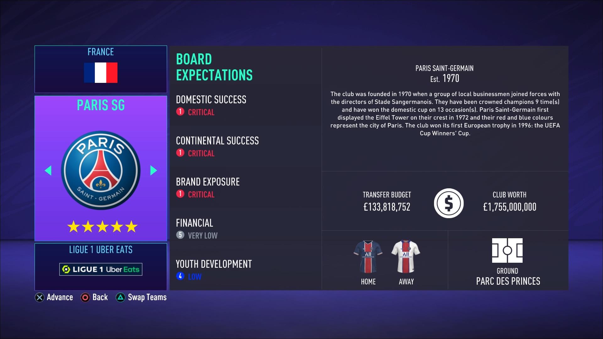 FIFA 21 Career (In Menus)