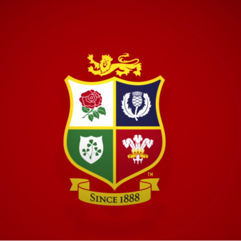 rugby british and irish lions crest red background
