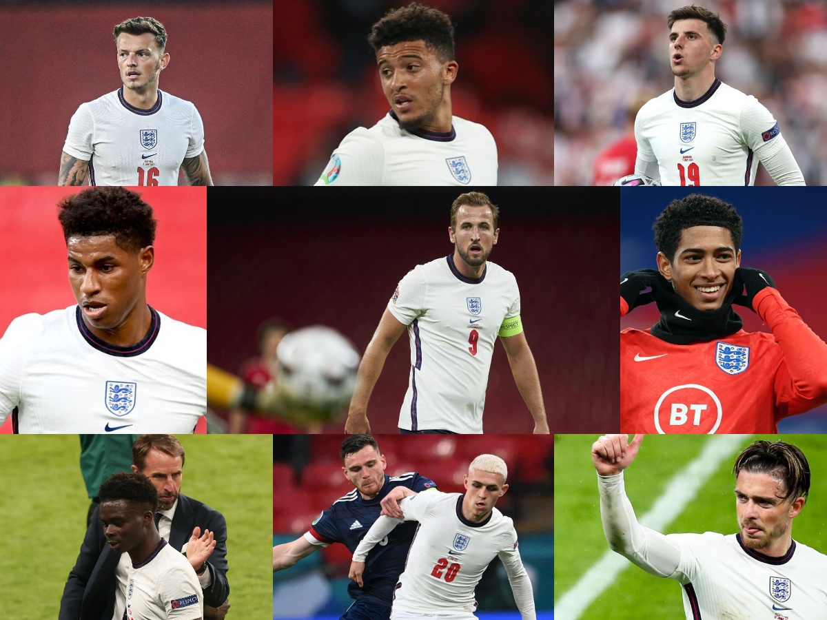 football england ben white jadon sancho jude bellingham mason mount marcus rashford harry kane bukayo saka phil foden jack grealish